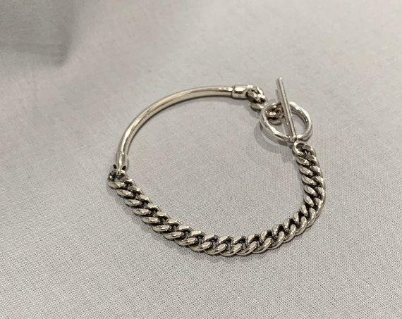 Silver Chain Bracelet /925 Sterling Silver Mixed Chain and Bracelet / Silver Curb Bracelet