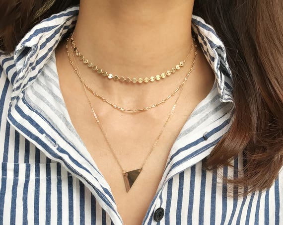 14k Gold Filled Wide Triangle necklace
