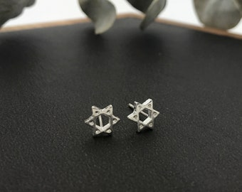 925 Sterling Silver Star Earrings/ Cut Out Star Stud Earrings / Silver star of David earrings