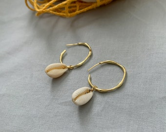 Dainty Wavy Hoops with Natural Cowrie Shell 14k gold filled
