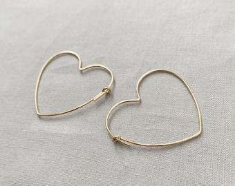 14K Gold filled, Sterling Silver Heart Hoop Earrings