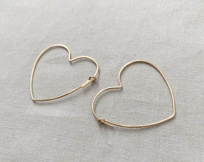 14K Gold filled, Sterling Silver Heart Hoop Earrings