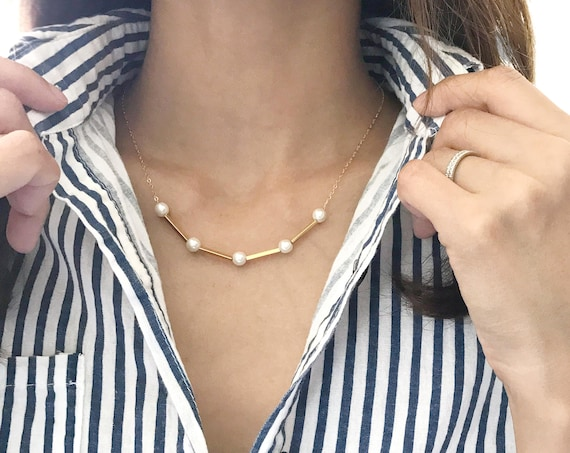 Gold Pearl Necklace | Layered Necklaces | Pearl Tube Necklace