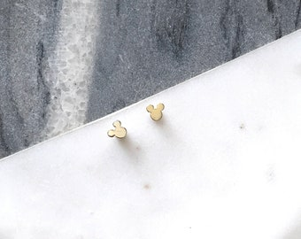 Tiny Mickey Mouse Earrings / Gold and Silver Plated Earrings / Cute minimal earrings