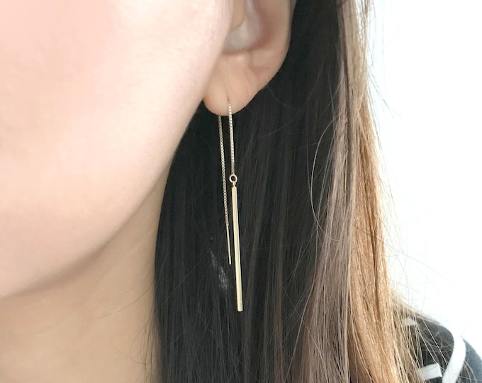 Gold filled long stick earrings / Long Chain Earrings / Threader Earrings