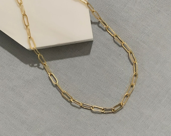 Gold Filled Chain Choker Necklace / Paperclip Necklace /Bracelet / Oval Elongated Link Chain
