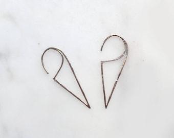 Triangle Wire Silver Earrings / 925 Sterling Silver Earrings