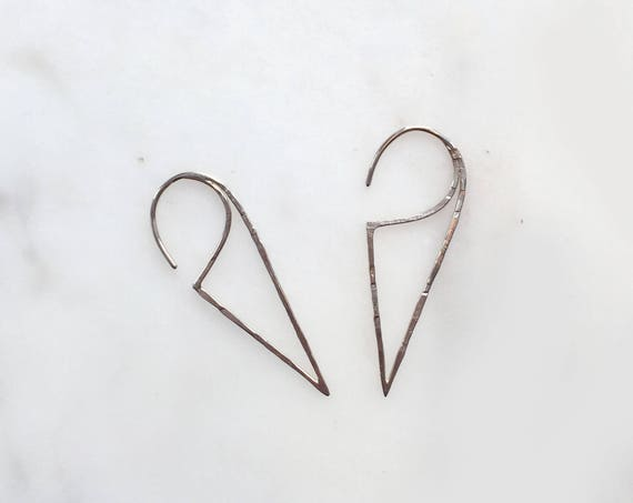 Triangle Wire Silver Earrings / 925 Sterling Silver Earrings