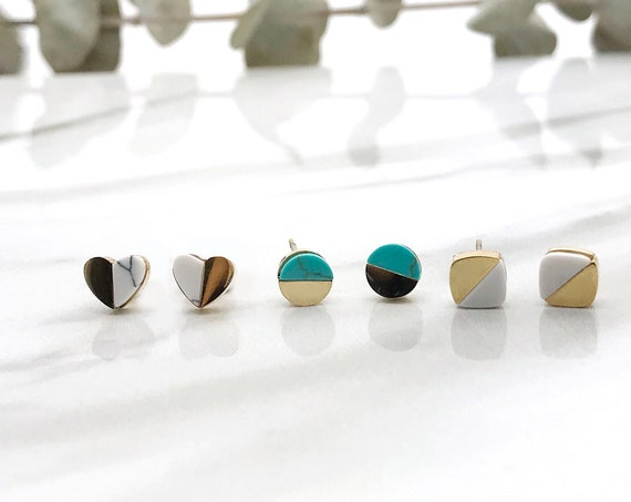 Tiny Heart, Circle and Square Earrings