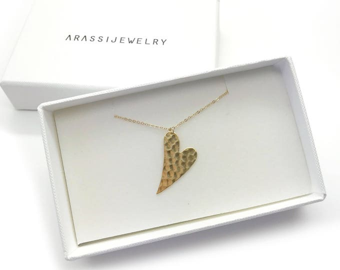 Curved Hammered Heart Necklace / Gold Heart Necklace and Earrings Set