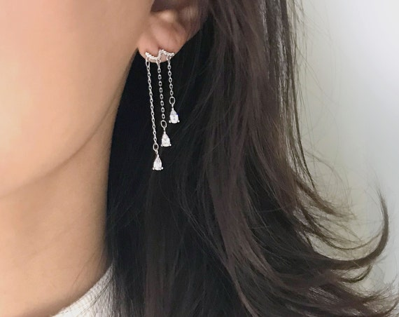 Cubic Zirconia Drop Silver Earrings