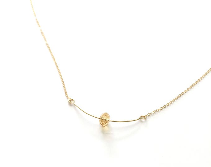Gold wire with a glass bead on 14k Gold Filled Chain