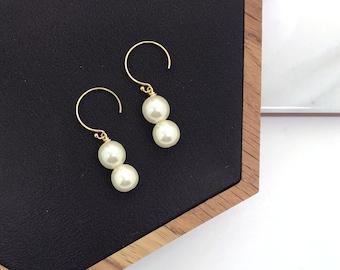 Gold Open Hoop Drop Pearl Earrings