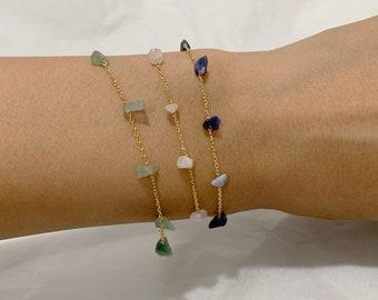 Color Stone Bracelet / Rose, Chrysoprase, Lapis Lazuli stone /Bracelets Woman, Dainty Bracelet for Women, Girls Bracelet