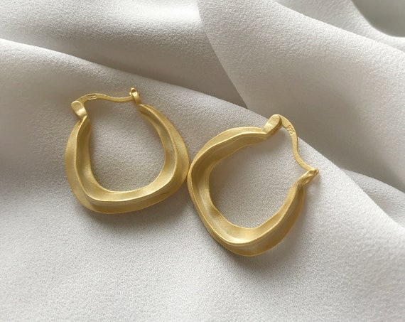 Mat Gold filled with sterling silver Wavy Hoop Earrings /Minimalist, Gift for her