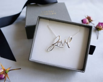Bright Sterling Silver LOVE Script Necklace
