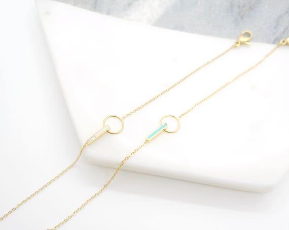 Gold Tiny White Turquoise Marble Bracelet