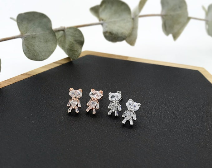 Crystal Bear Post Dangle Earrings / Silver and Rose Gold