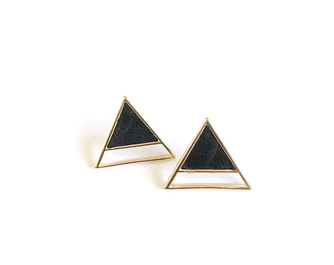 Triangle gold with black leather earring
