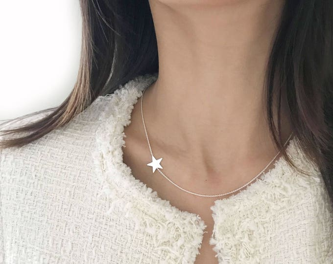 Silver Star Necklace /Sideways Necklace