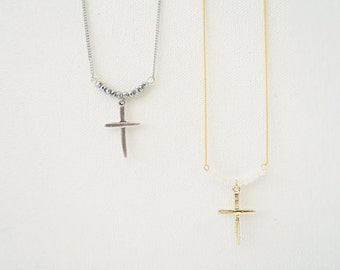 Silver gold Cross with tiny beads Necklace