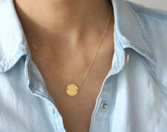 Gold filled Disc Necklace / Coin Necklace / 925 Silver necklace