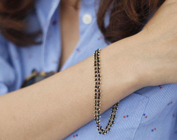 Tiny black beads gold Bracelet