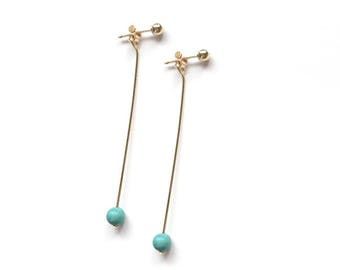 Gold Filled Ball Post Earring with Tiny Turquoise / long simple tiny earring