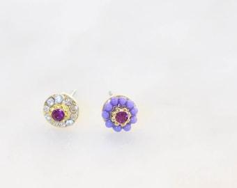 Tiny Mismatched Post Earrings / Titanium Posts