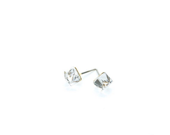 Clear Glass Cubic Post Earrings