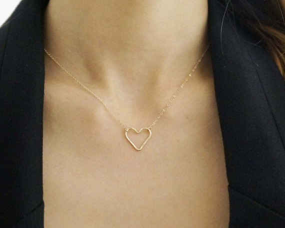 Hammered Small Heart Necklace