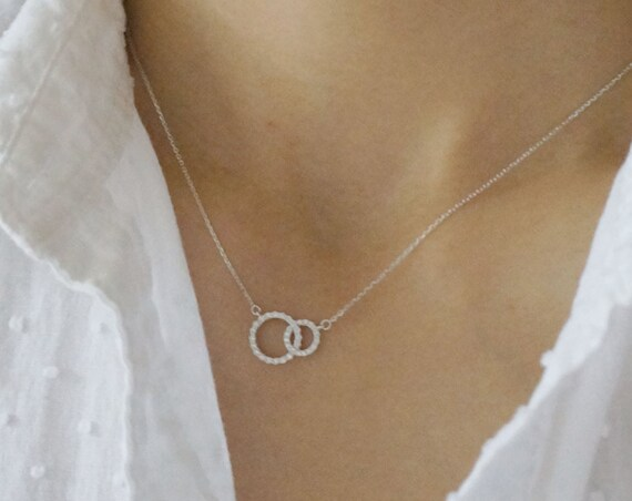 Silver Eternal  Double Ring Necklace