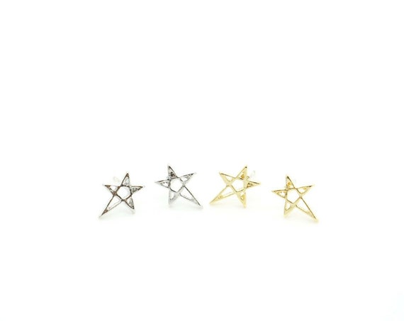 Star Earrings/ Sterling Silver Post Cut Out Star Stud Earrings