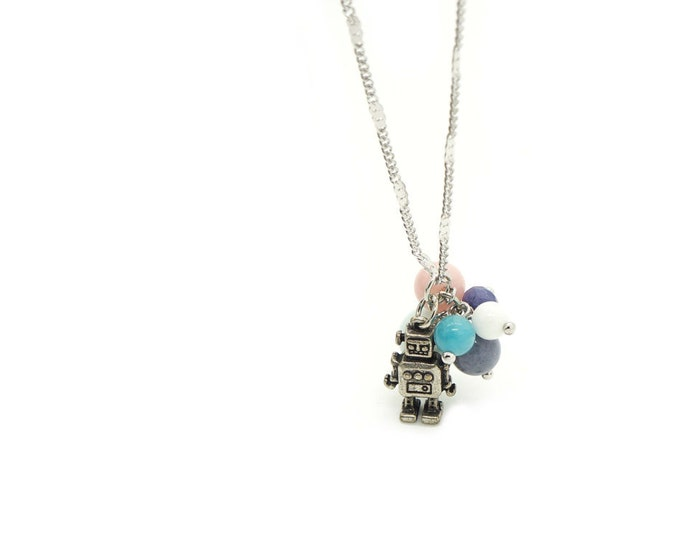 Robot with Balloons Charm Necklace