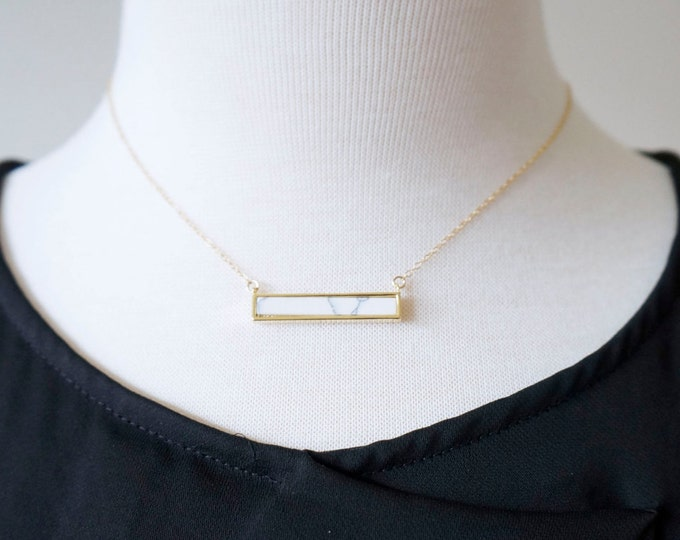 Marble Gold Bar Necklace