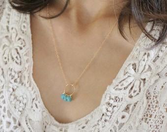 Gemstone 14k gold filled Circle Necklace