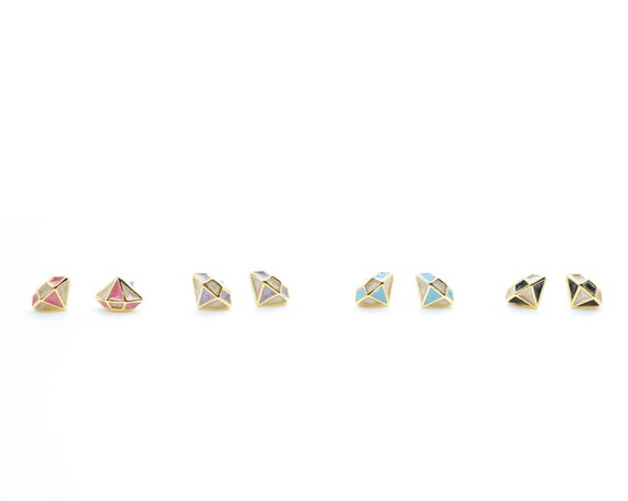 Silver Diamond Shape Cutout Post Earring