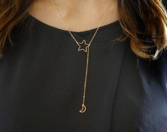 Star & Moon Y-Necklace