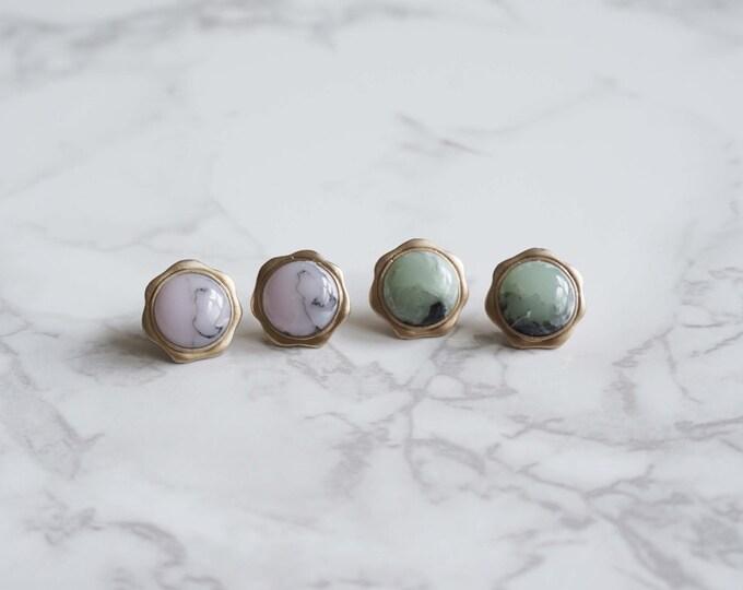 Formica Flower Post Earrings / Titanium Posts in gold / Nickel Free Earrings