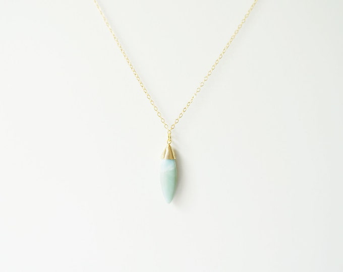 Oval Gemstone on 14K Gold Filled / Amazonite Necklace