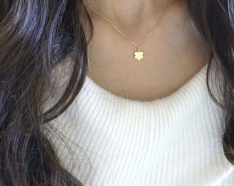 Gold Flower Pendant Necklace with 14k Gold Filled Chain