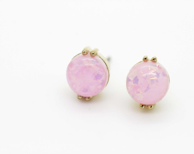 Pink Fire Opal Post Earrings