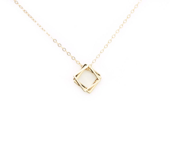 Square Necklace / 3 Square Pendants with 14K Gold Filled Chain /Silver Square Necklace