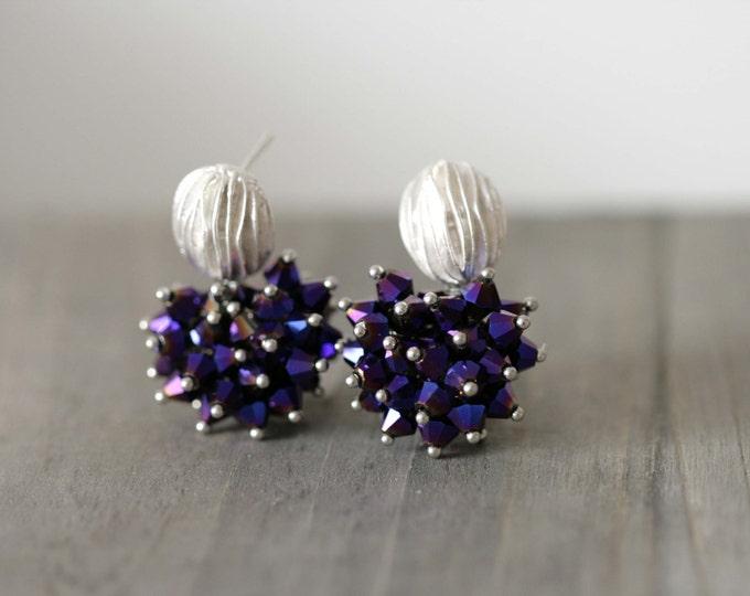 Purple Swarovski Bead Dangle Earring
