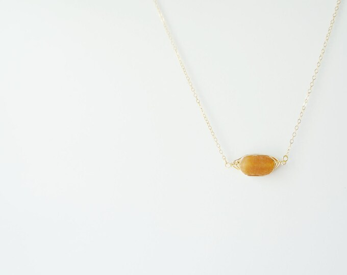 Yellow Jade Gemstone Necklace on 14K Gold Filled