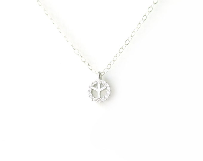 Tiny CZ Peace Silver Pendant Necklace
