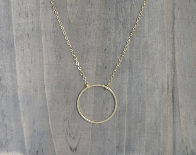Gold Circle Ring Necklace in 14K Gold Filled  / Sweet and Simple Dainty Jewelry