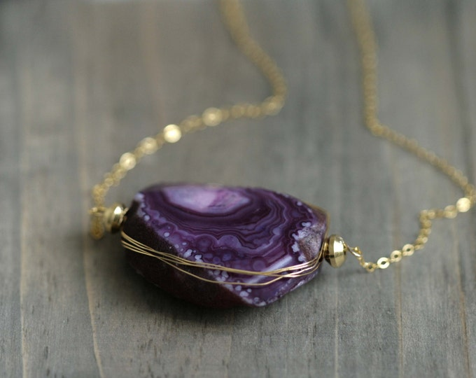 Amethyst Agate Necklace / Gemstone on 14k Gold Filled /  Birthstone Necklace