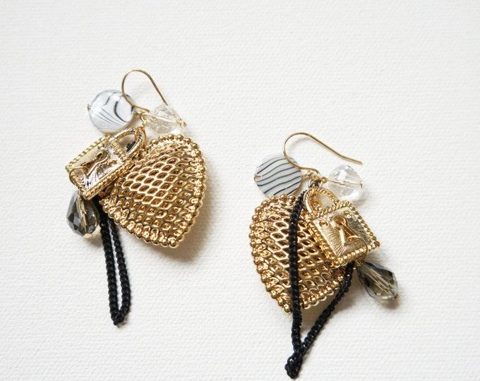 Locked Heart and Key Charm in Gold plated Earring