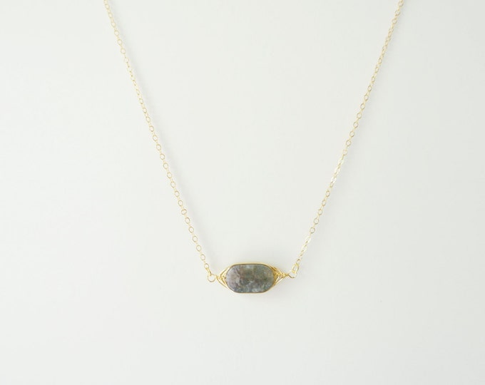 India Agate Gemstone Necklace on 14K Gold Filled